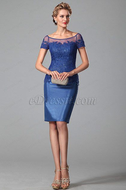 Bateau Neck Royal Blue Day Dress With Lace Sleeves