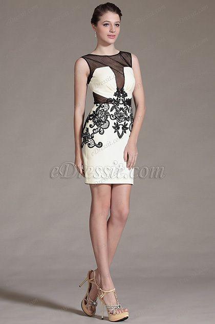 eDressit 2014 New Sheer Top Black Lace Decoration Cocktail Dress Day Dress