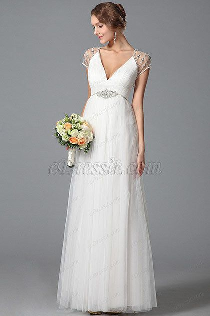 Gorgeous Short Sleeves Wedding Dress With Sparkling Beading