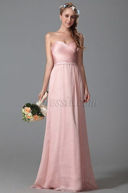 Strapless Sweetheart Pink Bridesmaid Dress