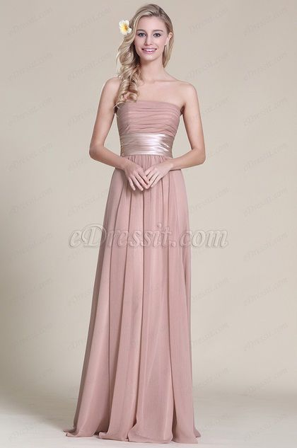 Elegant Strapless Bridesmaid Dress With Pleated Bodice