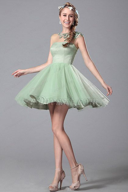 Light Green Beaded Embroidery Homecoming Dress Party Dress