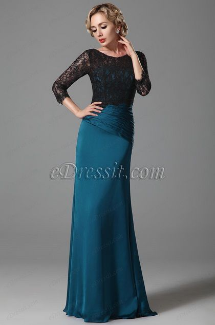 Elegant Mother of the Bride Dress With Black Lace Top