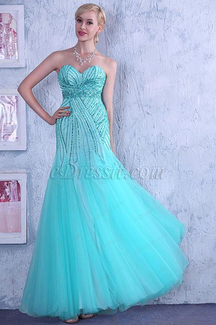 Gorgeous Shining Beaded Strapless Prom Gown Graduation Dress