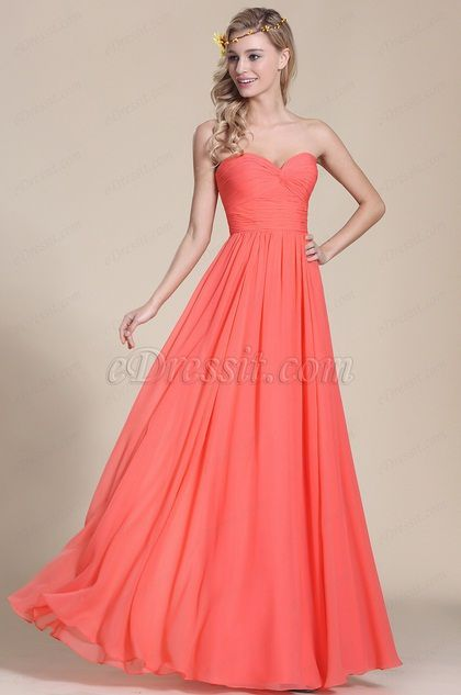Strapless Sweetheart Coral Bridesmaid Dress