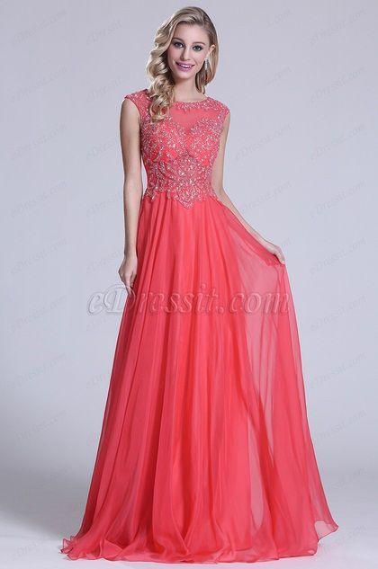 Sleeveless Beaded Bodice Coral Prom Dress