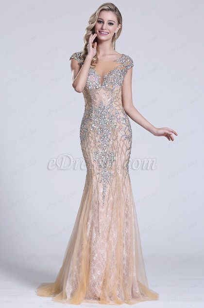 Beaded Capped Sleeves Beige Prom Gown