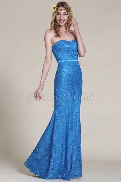 Strapless Sweetheart Blue Lace Bridesmaid Dress
