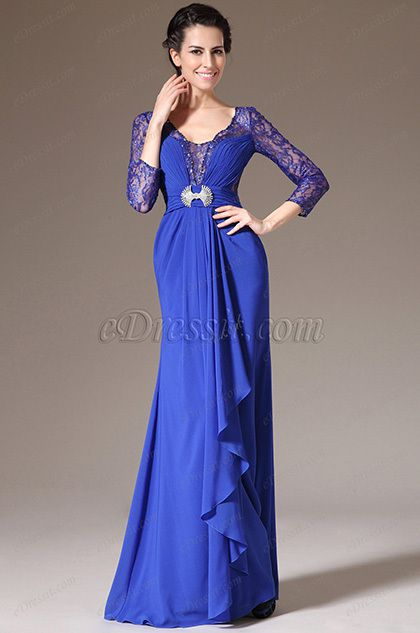 eDressit 2014 New Blue Lace-Sleeves Formal Dress/Mother of the Bride Dress