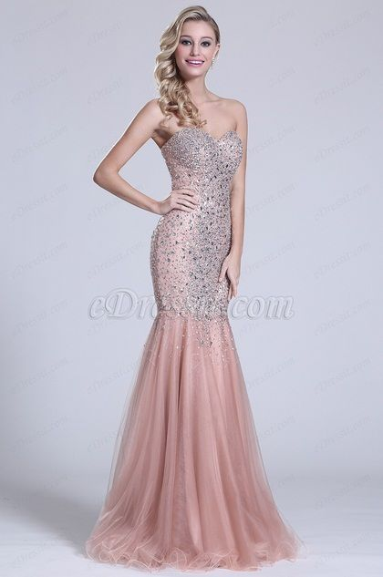 Strapless Sweetheart Beaded Prom Gown