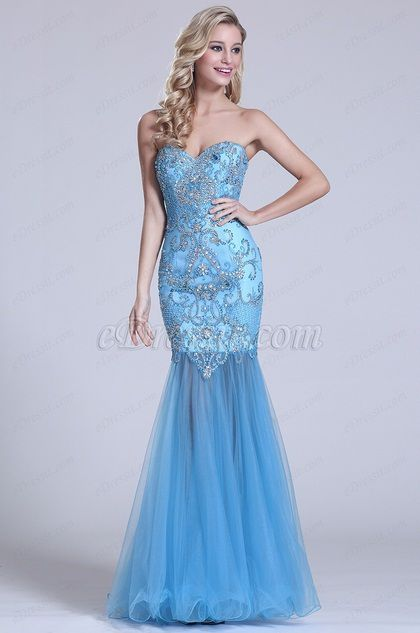 Strapless Sweetheart Beaded Blue Prom Gown