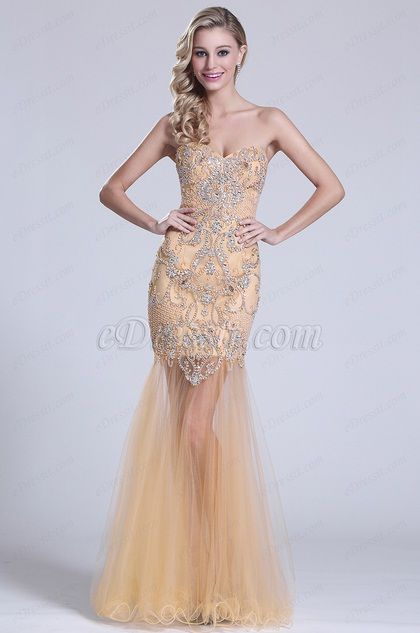 Strapless Sweetheart Beaded Beige Prom Dress