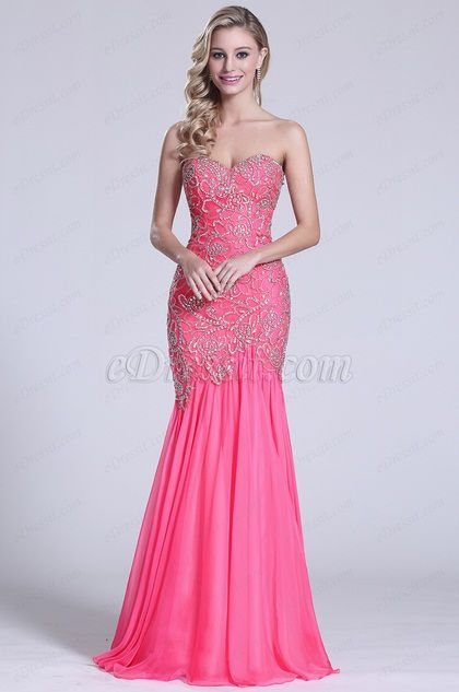 Strapless Sweetheart Hot Pink Beaded Prom Gown