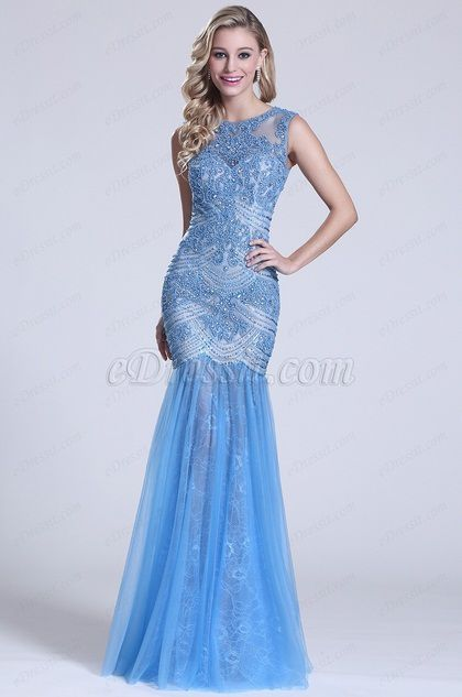 Gorgeous Sleeveless Beaded Blue Prom Dress