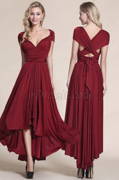 capped sleeves Convertible High Low Burgundy Bridesmaid Dress