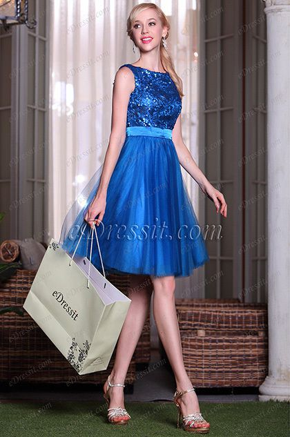Blue Sleeveless Sequined Cocktail Dress