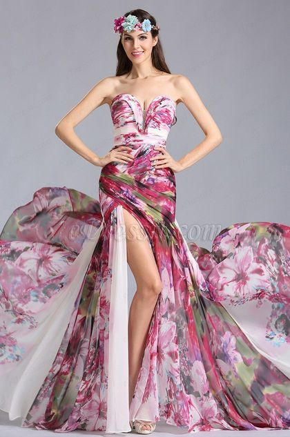 Strapless Sweetheart Printed Evening Dress Summer Dress