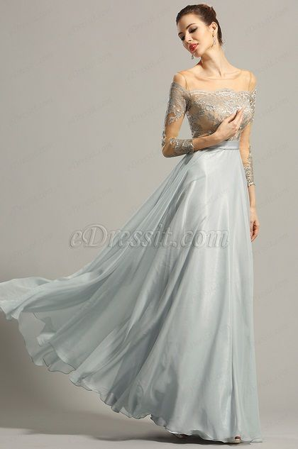 eDressit Long Sleeves Lace Evening Dress Formal Gown