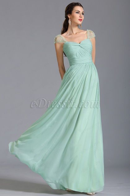 A Line Capped Sleeves Mint Bridesmaid Dress Evening Dress