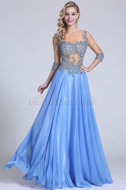 Sexy Beaded Bodice Prom Dress Evening Gown