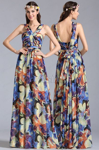 plunging back Convertible A Line Printed Dress
