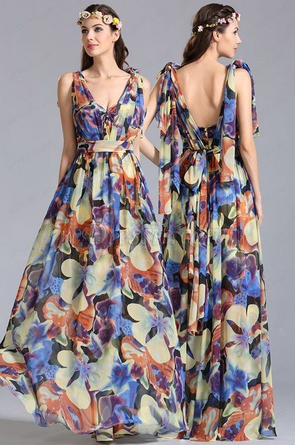 bow-knot Convertible A Line Printed Dress