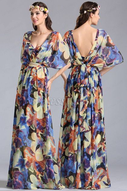 sleeved Convertible A Line Printed Dress