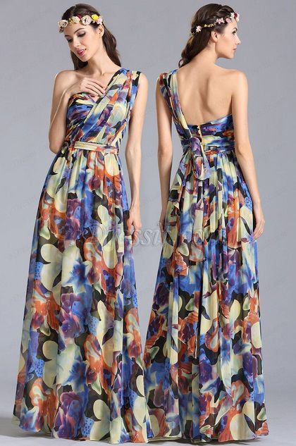 One Shoulder Convertible A Line Printed Dress
