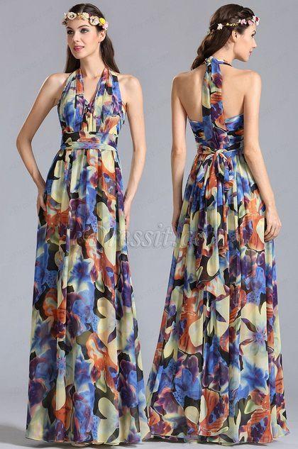 halter eDressit Convertible A Line Printed Dress Summer Holiday Dress