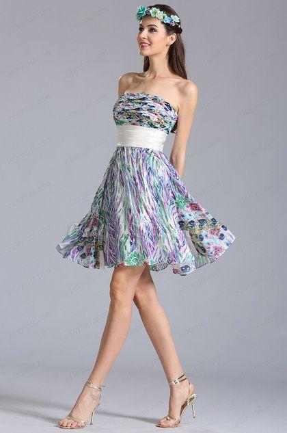 Strapless Knee Length Summer Printed Dress Floral Dress