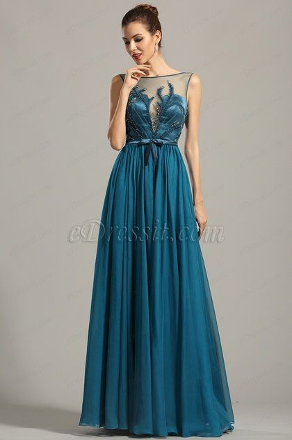 Sleeveless Embroidered Blue Evening Dress Formal Gown (00154605)