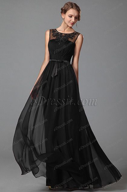 eDressit Sleeveless Black Evening Gown With Lace Details