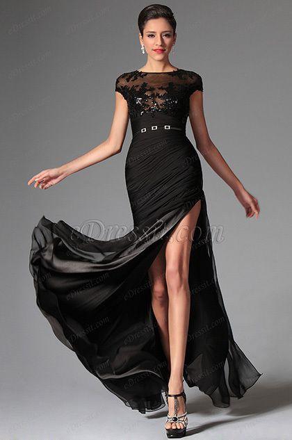 eDressit 2014 New Black Sexy Cap-sleeves Evening Dress Prom Dress