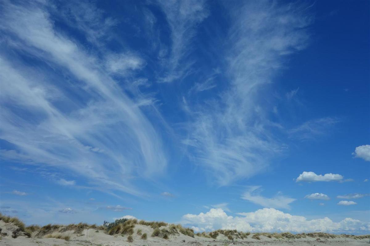 sur le cordon dunaire de la plage de Piémanson, vues vers le nord et le sud