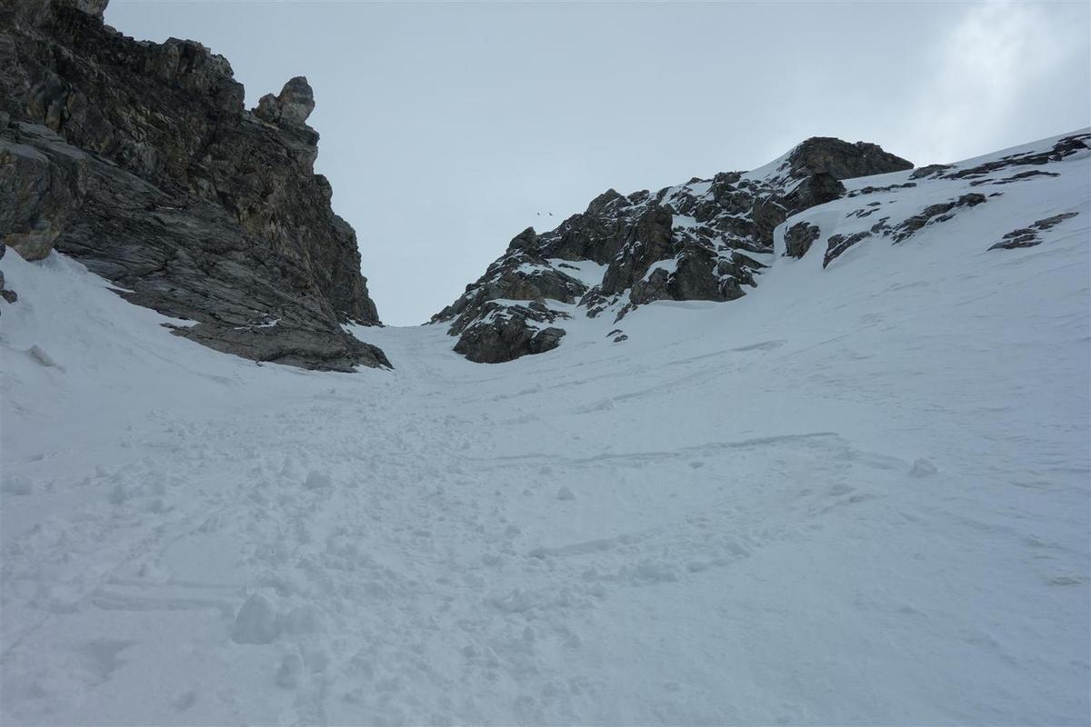 dans la descente, de la neige fraîche lourde du sommet à la moquette du bas
