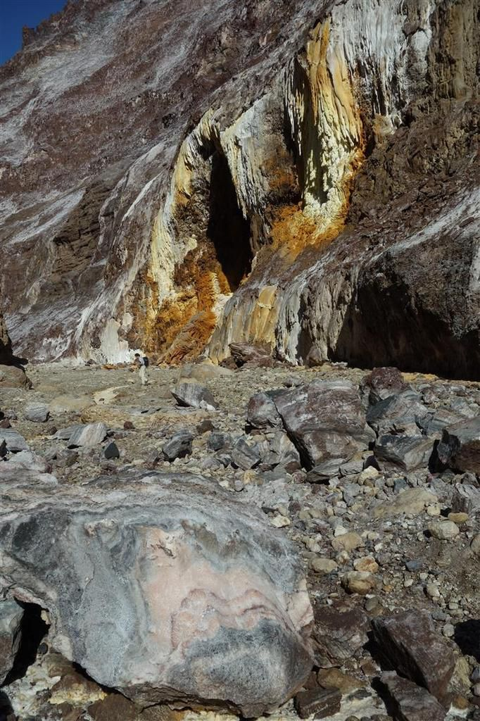 séracs et rivière asséchée de sel devant les stalactites oranges, blanches et jaune