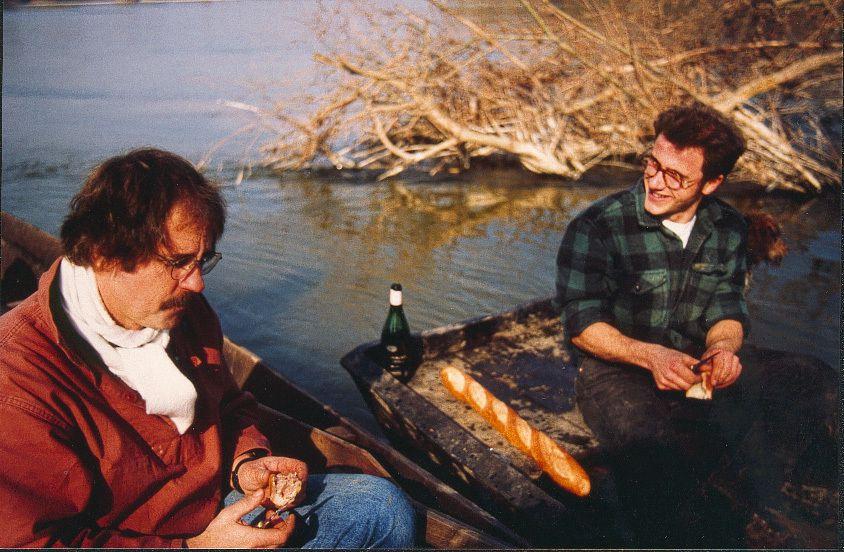 Jean-Christophe et Manu au début des années 90 sur les traces du castor fiber (photo christian bouchardy)