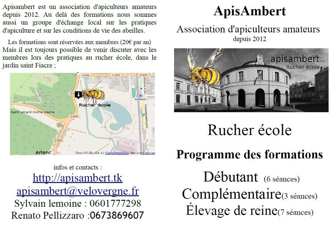Inscriptions aux formations du Rucher école à Ambert