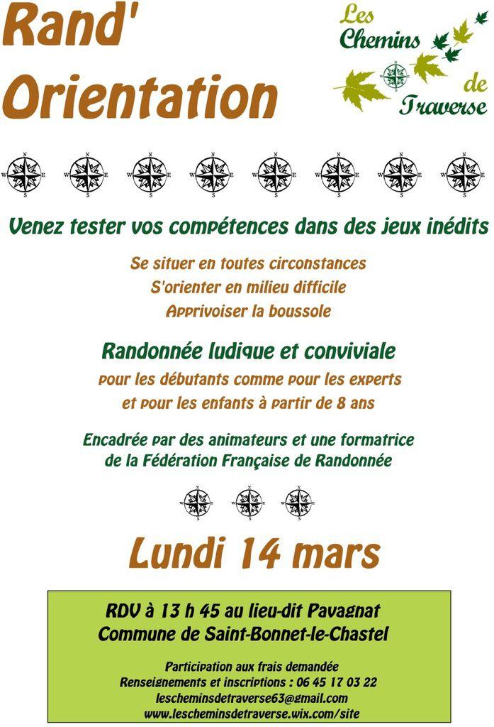 Rand'Orientation &quot&#x3B;Les Chemins de Traverse&quot&#x3B;