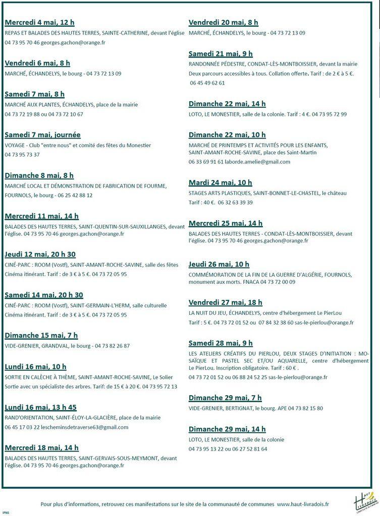 Manifestations Haut-Livradois 1er au 31 mai