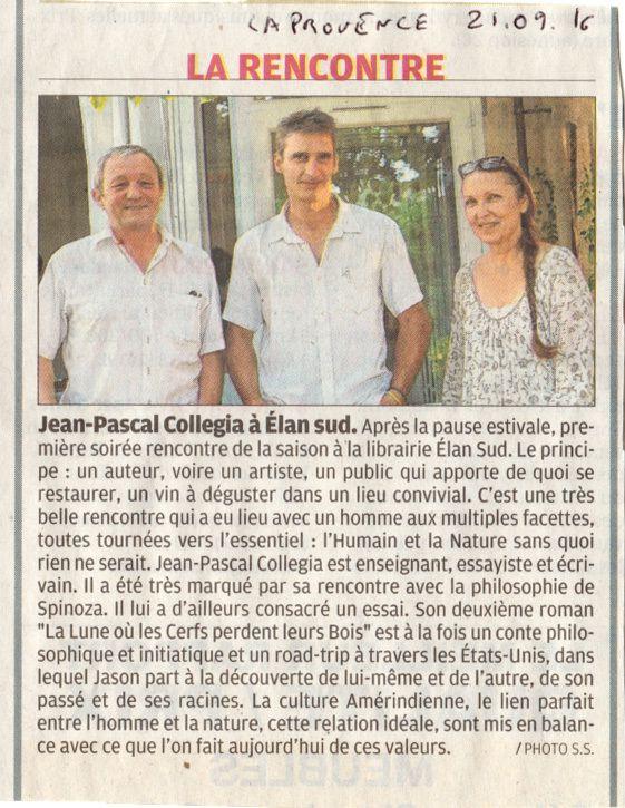 Une rencontre avec Jean-Pascal Collegia à la librairie Elan Sud