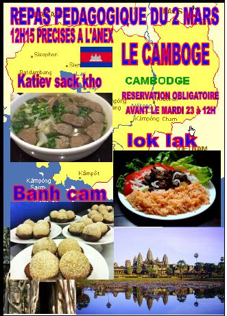 Repas cambodgien à la SAVA mercredi 02 mars