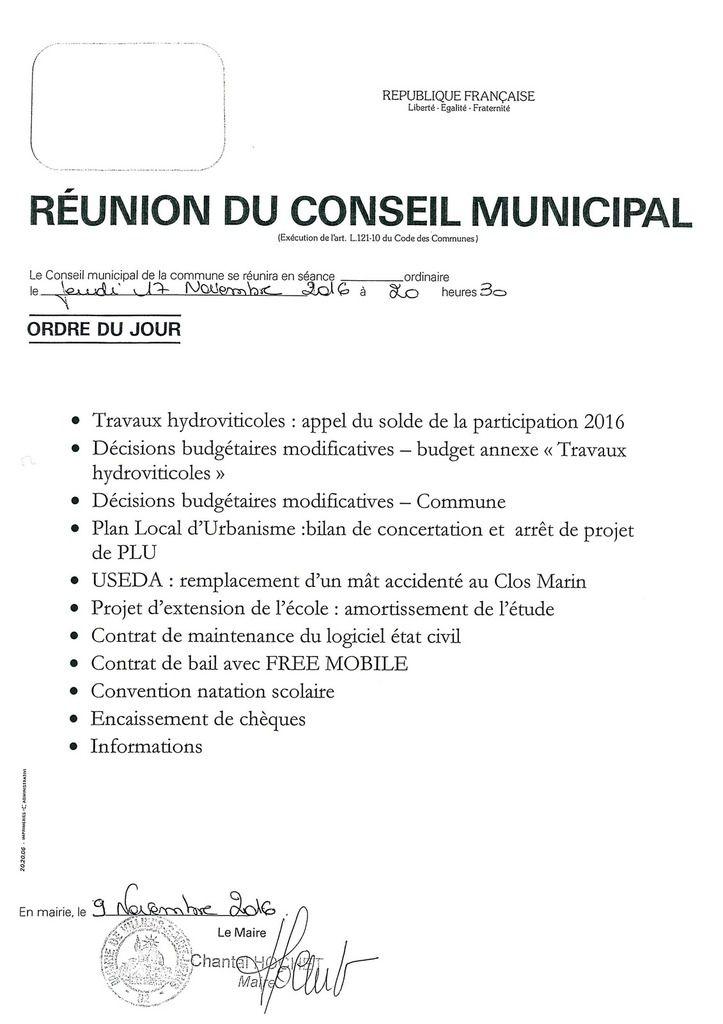 Conseil Municipal -17 novembre 2016