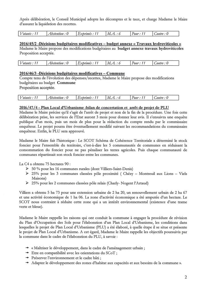 Compte rendu du conseil municipal du 17 novembre 2016