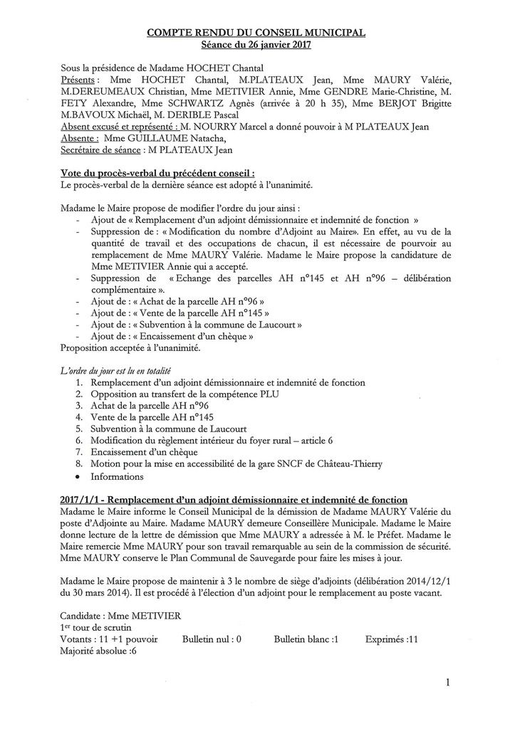 Compte rendu de la réunion du conseil municipal du 26/01/2017