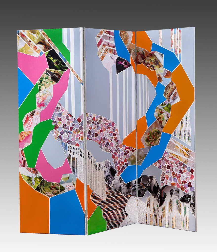 Papiers choisis découpés et peinture acrylique sur toile 3 x 50 cm x 146 cm