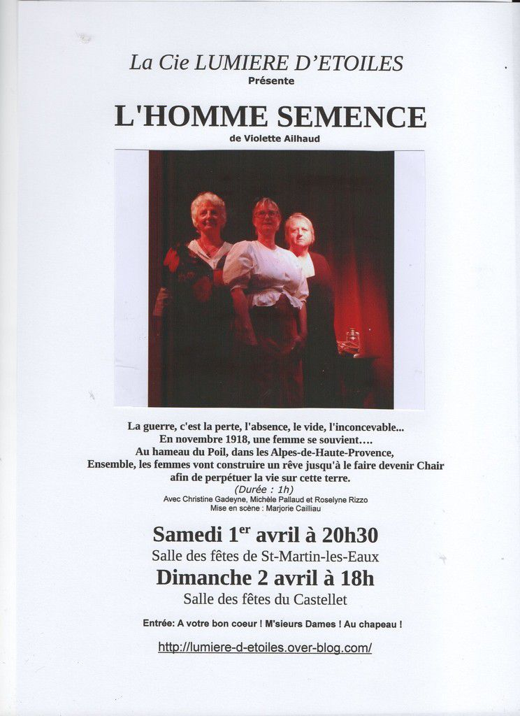 L'HOMME SEMENCE - les 1er et 2 avril