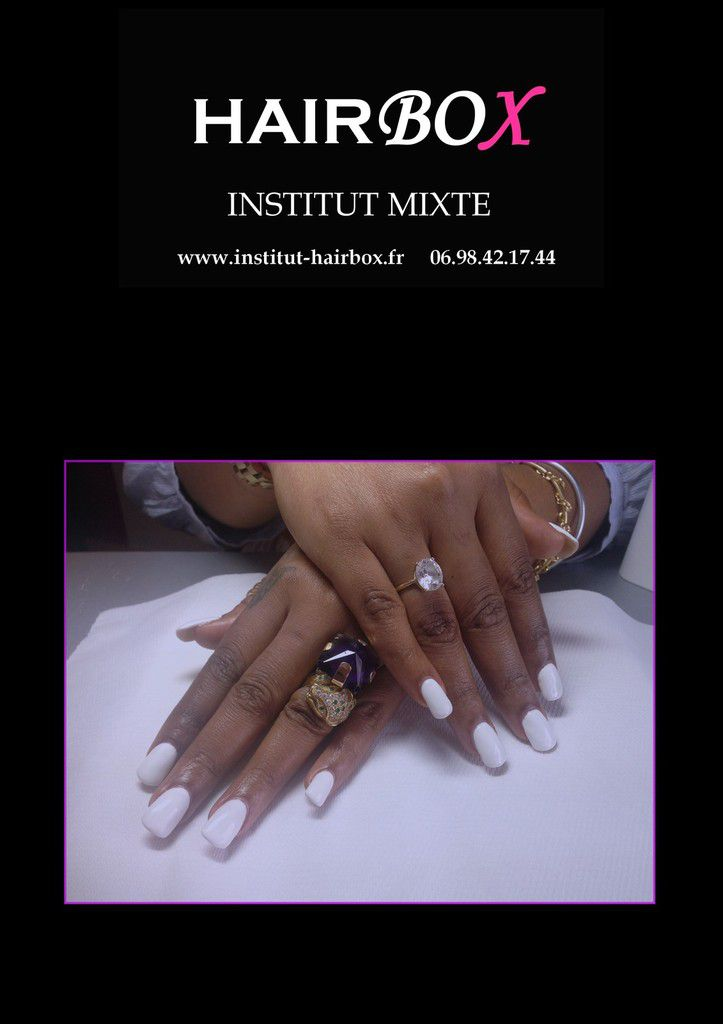 Ongles gel blanc institut hairbox