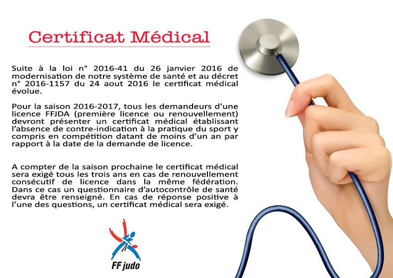 certificat médical - attention modification