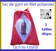 Sac de gym en filet polyester avec un marquage quadri digitale